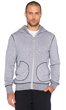 Reigning Champ Zip Front Hoodie in White/Navy