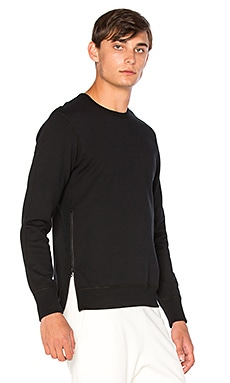 Reigning Champ Side Zip L/S Crewneck in Black