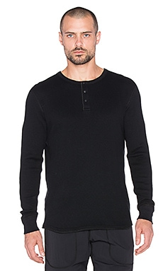 Reigning Champ Long Sleeve Thermal Henley in Black