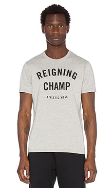 Reigning Champ Gym Logo S/S Crew Tee in Heather Grey