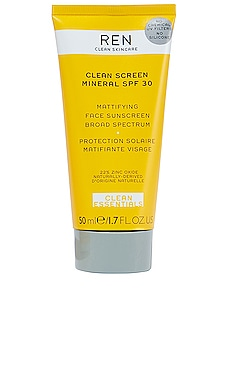 Clean Screen Mineral SPF 30 Mattifying Face Sunscreen REN Clean Skincare $38