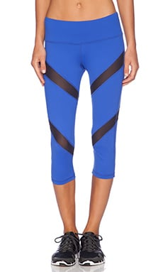 Mia Crop Legging in Blue & Black Mesh