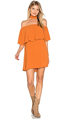 Chloe Ruffle Choker Dress in Rust