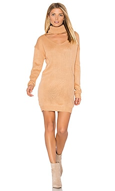 Cut It Out Sweater Dress in Peach