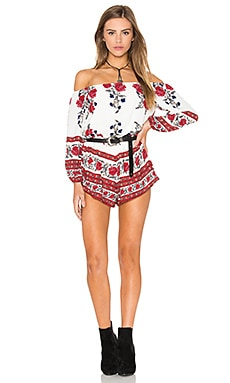 REVERSE Off The Shoulder Romper in White Red Multi