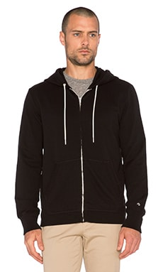 rag & bone Standard Issue Zip Hoodie in Black