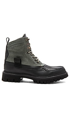 Spencer Duck Boot High in Dark Green Combo