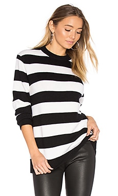 Shana Cashmere Crew Sweater in Black & White