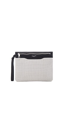Zip Clutch in White Perforated