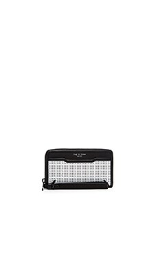 Rag & Bone Devon Mobile Zip Wallet in White Perforated