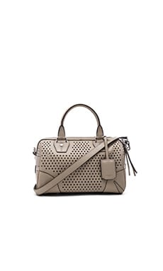 Small Flight Satchel Bag in Clay Perforated