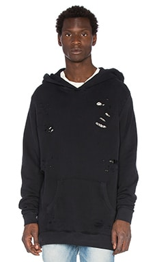 Rhude Distressed Hoodie in Faded Black