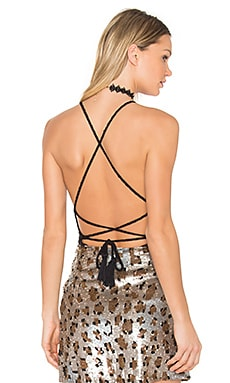 x REVOLVE Lulu Halter Criss Cross Tank in Black French Terry