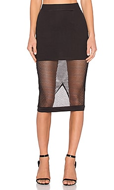 RISE Burning Desire Mesh Midi Skirt in Black