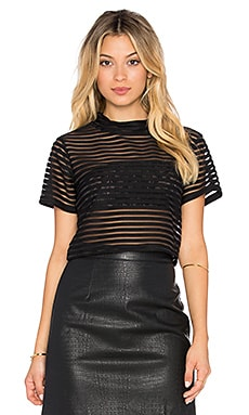 RISE Parallel Lines Crop Top in Black