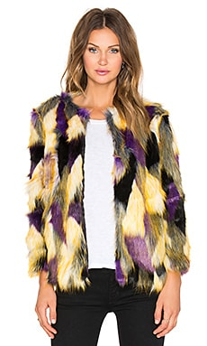 RISE OF DAWN Multi Lovers Faux Fur Jacket in Purple Multi