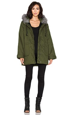 RISE OF DAWN On Guard Military Puffer Jacket with Faux Fur trim in Khaki
