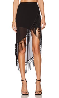 RISE OF DAWN Gypsy Dancer Tassel Skirt in Black