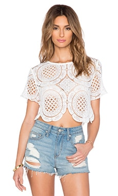 RISE OF DAWN Tapestry Lace Top in White