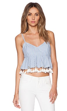 RISE OF DAWN Pretty Gingham Crop Top in Blue Stripe