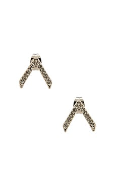 Rebecca Minkoff V Earring in Rhodium & Crystal