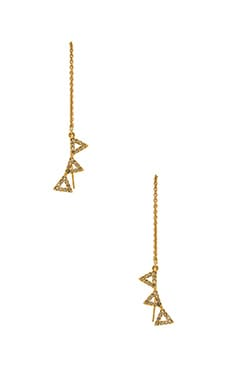 Rebecca Minkoff Three Triangle Drop Threader in Gold & Crystal