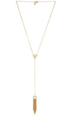 Rebecca Minkoff Fringe Lariat Necklace in Gold