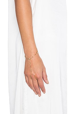Rebecca Minkoff Beaded Hand Chain in Gold & Crystal