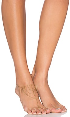 Rebecca Minkoff Multi Bead Foot Chain in Gold