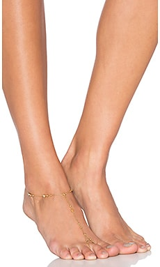 Rebecca Minkoff Beaded Foot Chain in Gold & Crystal
