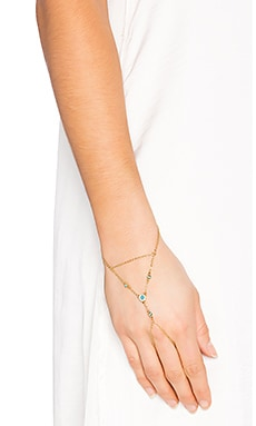Rebecca Minkoff Pave Gem Hand Chain in Gold & Turquoise