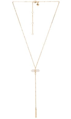 Crystal Y Necklace in Gold & Crystal