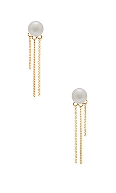 Rebecca Minkoff Pearl Fringe Back Earring in Gold & Pearl