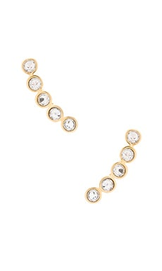 Rebecca Minkoff Gem Stone Climber Earring in Gold & Crystal