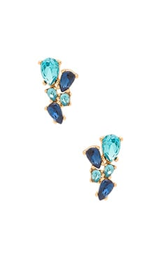 Rebecca Minkoff Multi Stone Stud Earring in Gold & Blue Multi