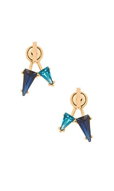 Rebecca Minkoff Multi Stone Front Back Earring in Gold & Blue Multi
