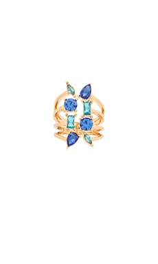 Multi Stone Wrap Ring in Gold & Blue Multi