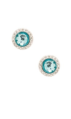 Rebecca Minkoff Crystal Halo Stud Earring in Rhodium & Aqua