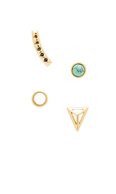 Rebecca Minkoff Boho Singles Earring Set in Gold & Rhodium & Turquoise