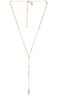 Pave Spike Beaded Y Necklace en Or Rose & Cristal