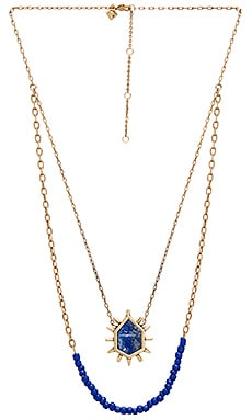 Burst Double Row Necklace in Gold & Blue Multi