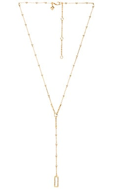 Geo Rectangle Y Necklace in Gold & Crystal
