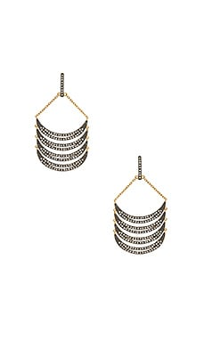 Curve Chandelier Earrings en Or & Bronze