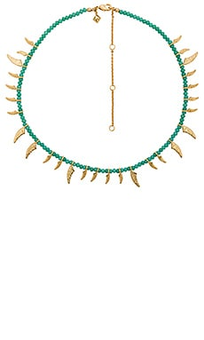Tiki Beaded Spike Necklace in Turquoise & Gold
