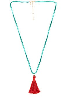 Bali Beaded Tassel Necklace in Turquoise & Red