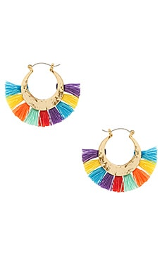 Palm Tassel Hoops in Gold & Multi