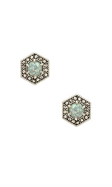 Opal Hex Stud in Antique Silver & Blue Opal