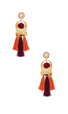 Tassel & Pom Drama Chandelier Earrings en Gold & Warm Multi