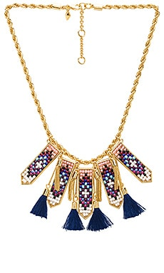 Catalina Statement Bib Necklace in Gold & Blue Multi
