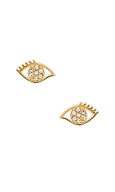 Evil Eye Stud Earrings in Gold & Crystal